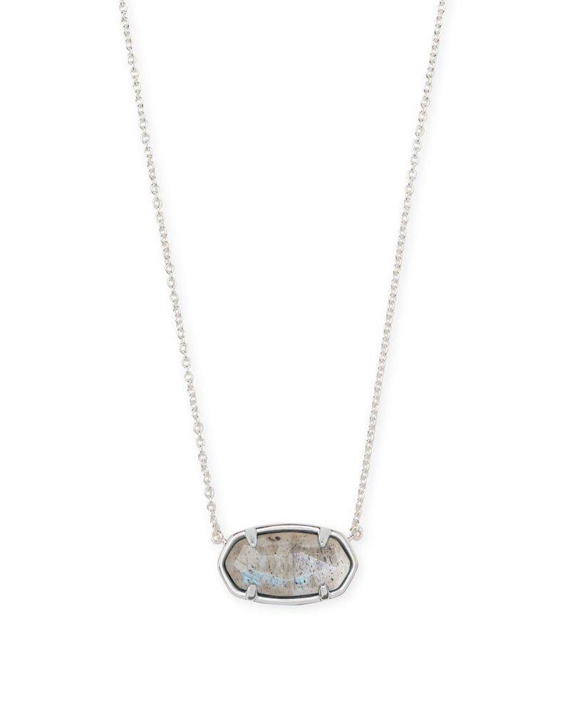 Elisa Sterling Silver Pendant Necklace in Gray Labradorite