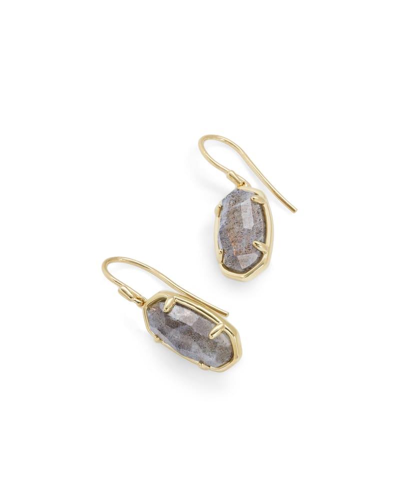 Lee 18k Gold Vermeil Drop Earrings in Gray Labradorite