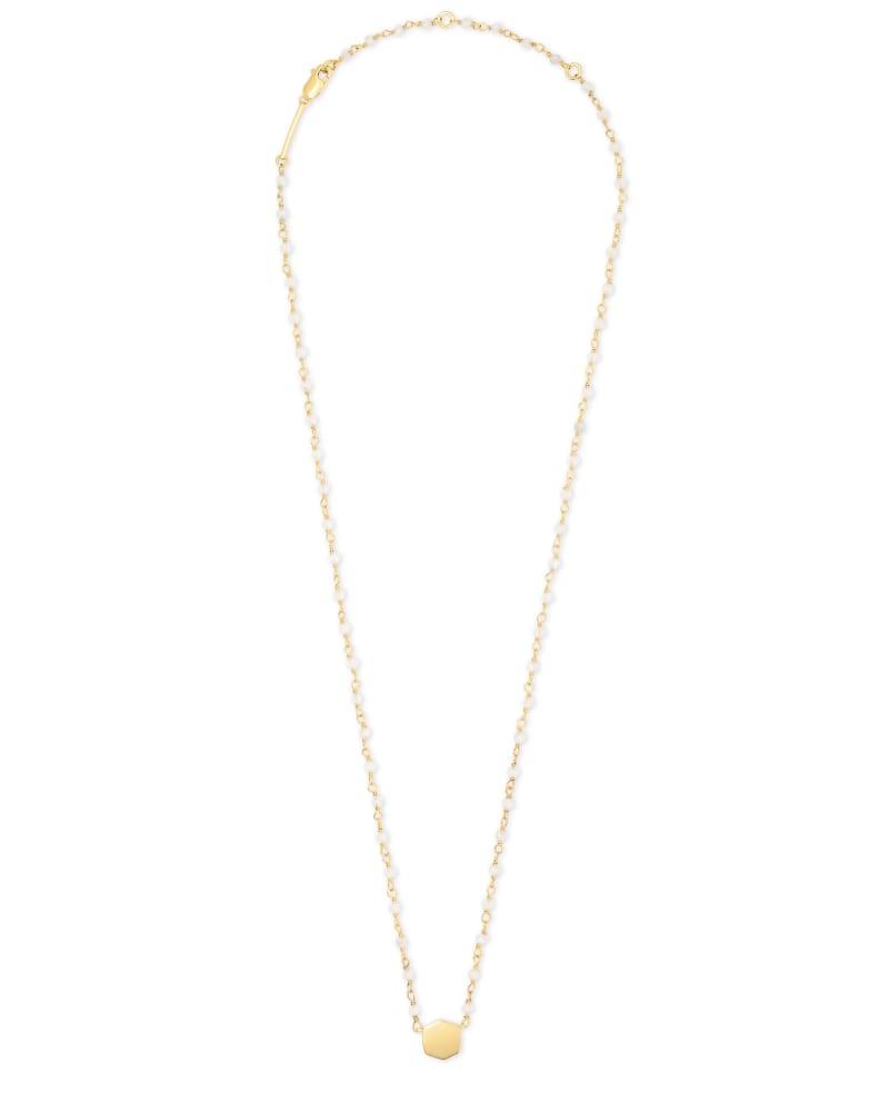 Davis 18k Gold Vermeil Beaded Pendant Necklace in Moonstone