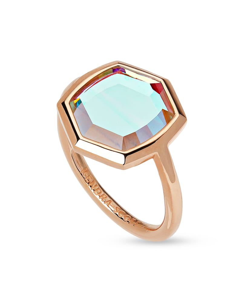 Davis 18k Rose Gold Vermeil Cocktail Ring in Dichroic Glass