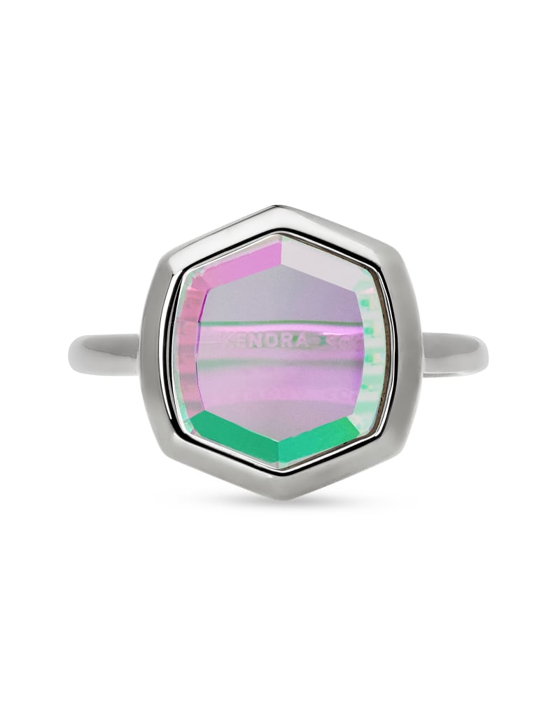 Davis Sterling Silver Cocktail Ring in Dichroic Glass