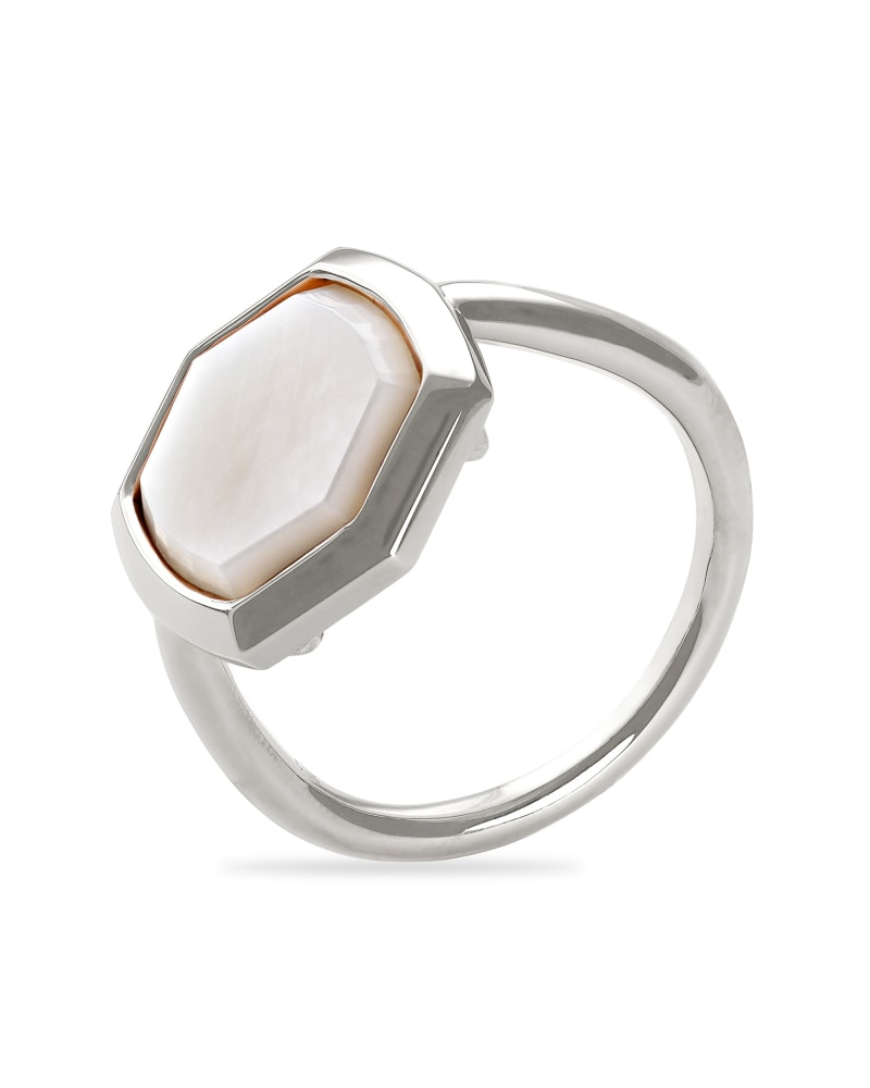 Davis Sterling Silver Cocktail Ring in Ivory Mother-of-Pearl