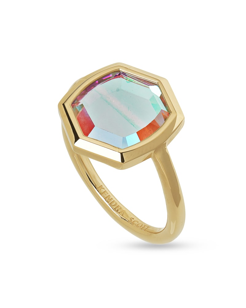 Davis 18k Gold Vermeil Cocktail Ring in Dichroic Glass