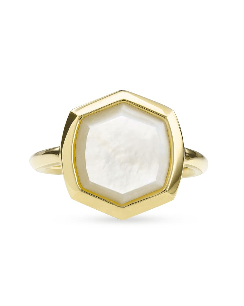 Davis 18k Gold Vermeil Cocktail Ring in Ivory Mother-of-Pearl