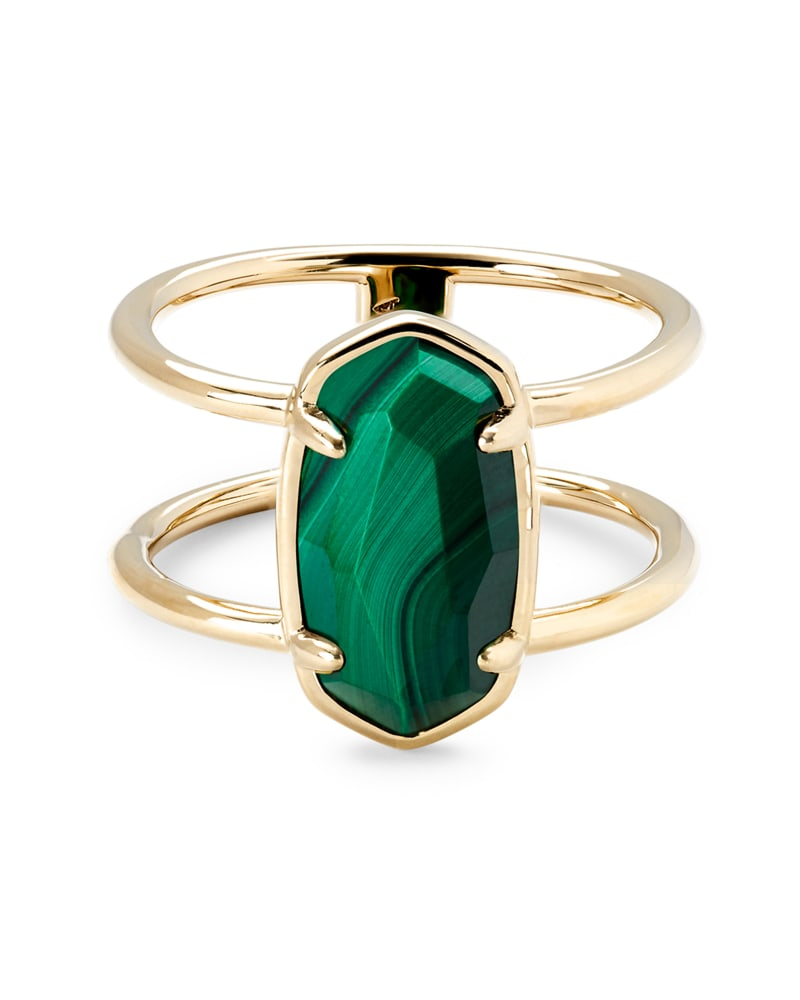 Elyse 18k Gold Vermeil Double Band Ring in Malachite