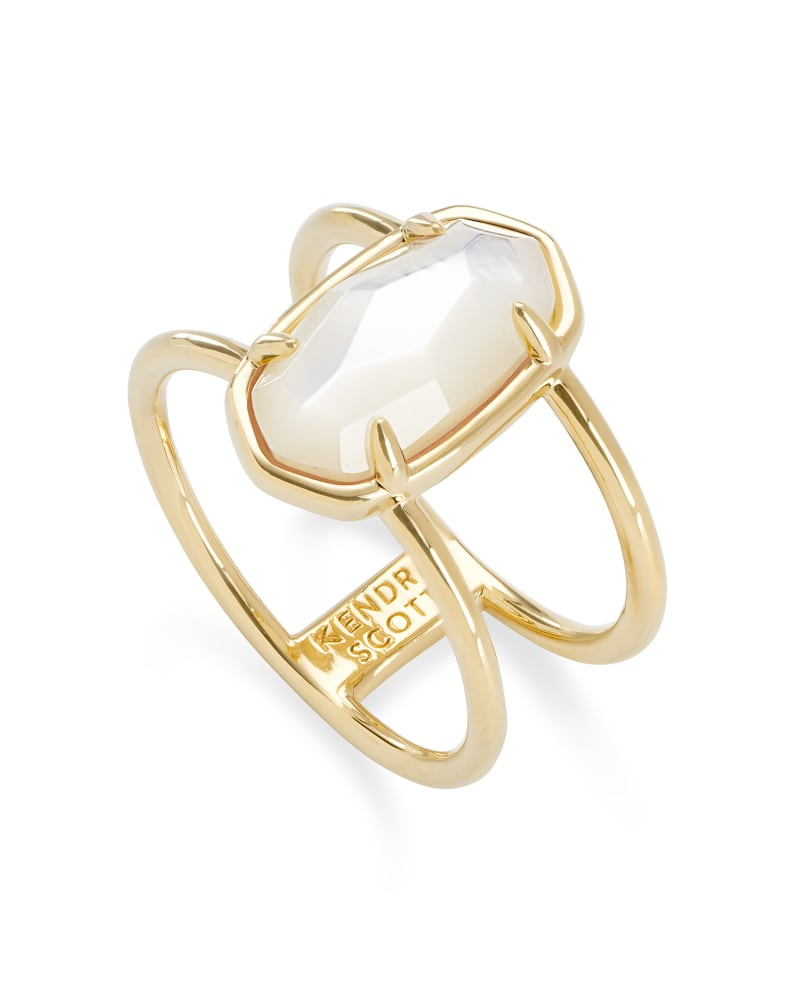 Elyse 18k Gold Vermeil Double Band Ring in Ivory Mother-of-Pearl
