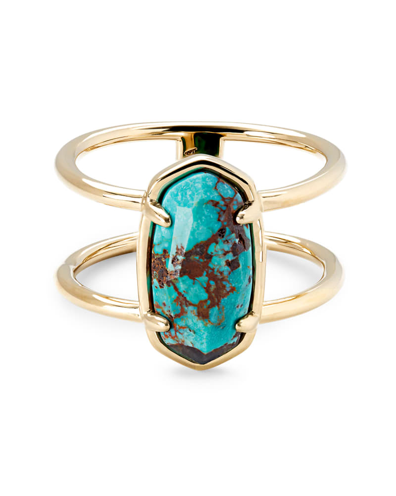Elyse 18k Gold Vermeil Double Band Ring in Turquoise