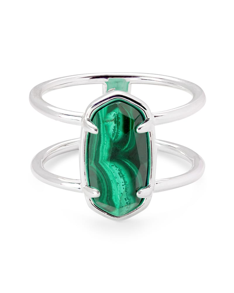 Elyse Sterling Silver Double Band Ring in Malachite