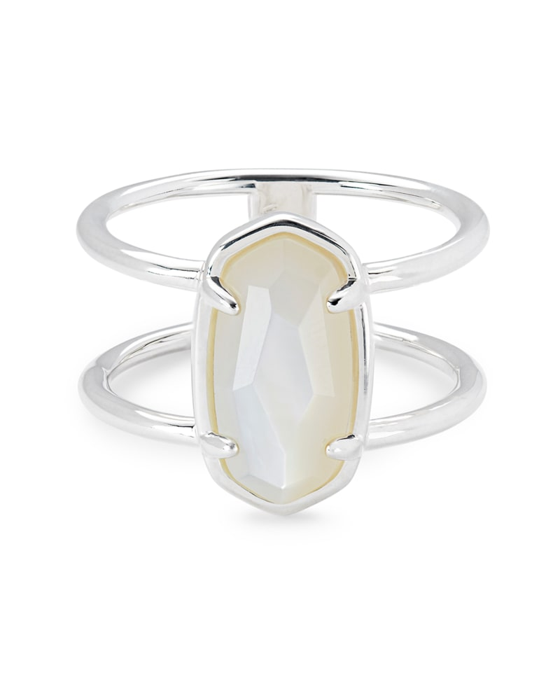 Elyse Sterling Silver Double Band Ring in Ivory Mother-of-Pearl