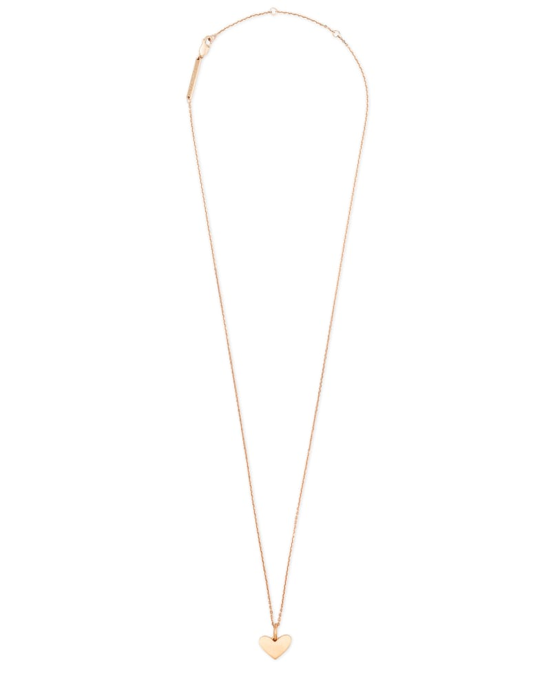 Ari Heart Charm Necklace in 18k Rose Gold Vermeil