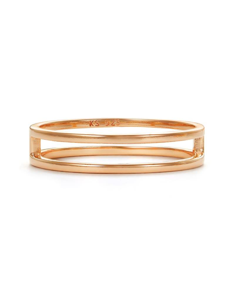 Bennett Double Ring in Rose 18k Gold Vermeil