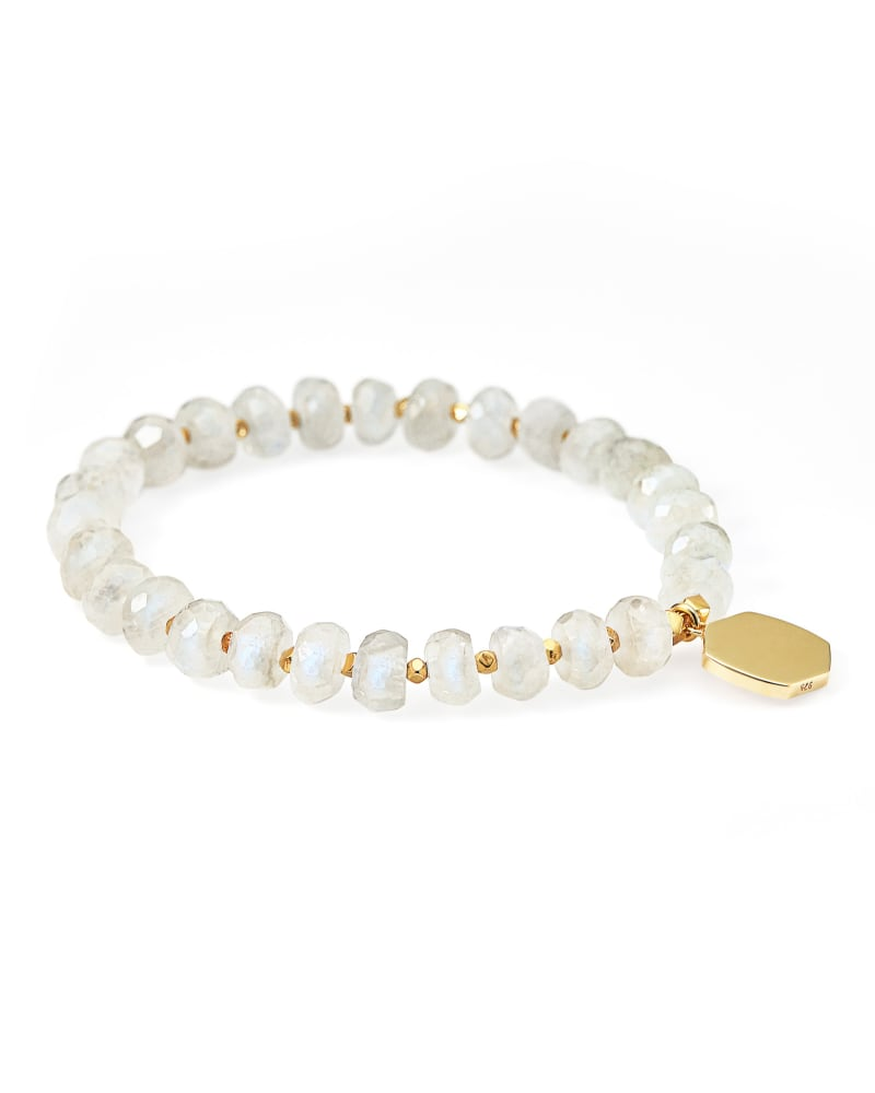 Davis 18k Gold Vermeil Beaded Bracelet in Moonstone