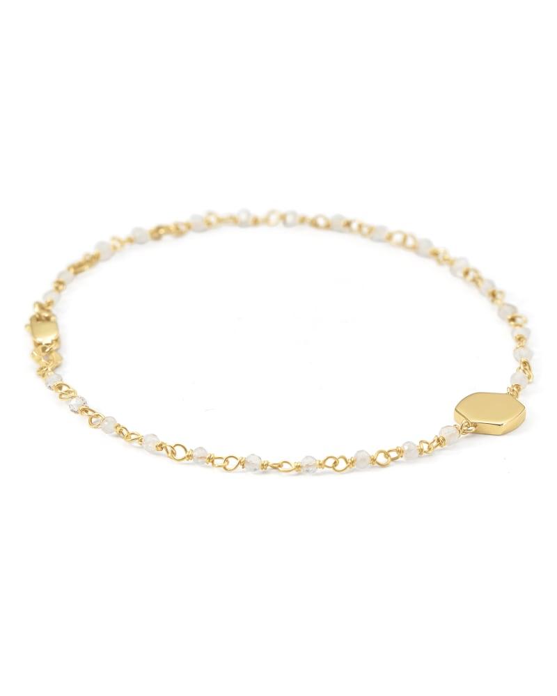 Davis 18k Gold Vermeil Delicate Beaded Bracelet in Rainbow Moonstone
