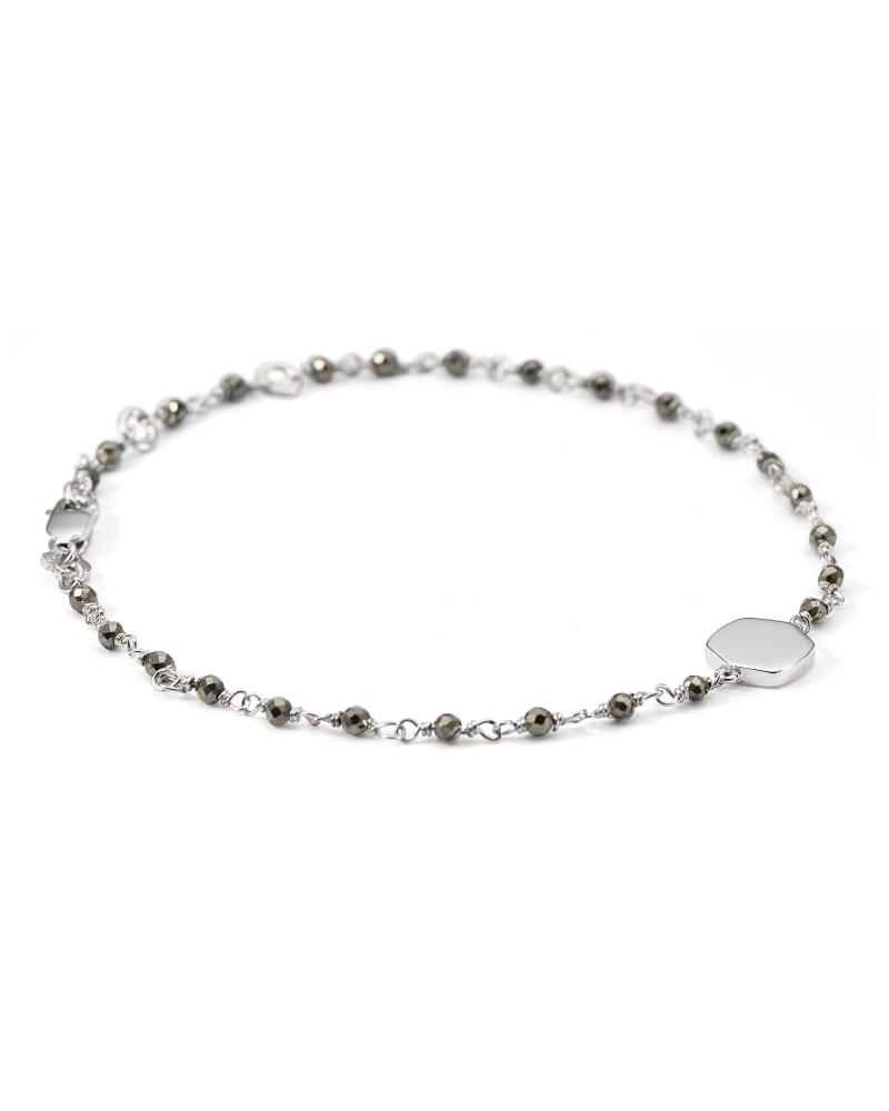 Davis Sterling Silver Delicate Beaded Bracelet in Gray Pyrite