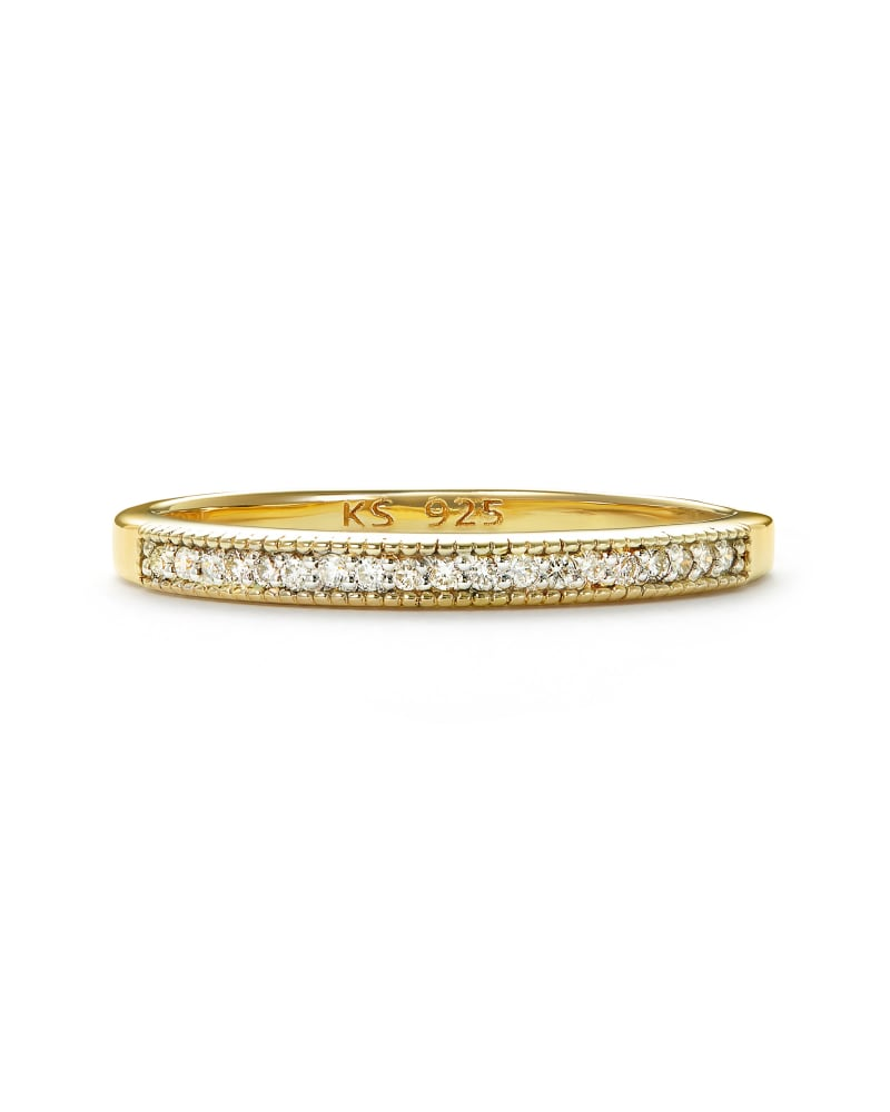 Ensley 18k Gold Vermeil Band Ring in White Diamond