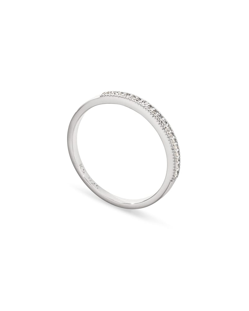 Ensley Sterling Silver Band Ring in White Diamond
