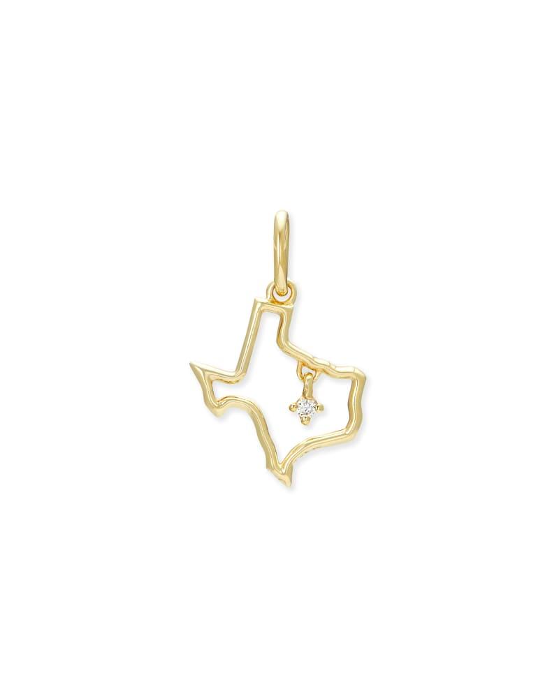Texas 18k Gold Vermeil Charm in White Diamond