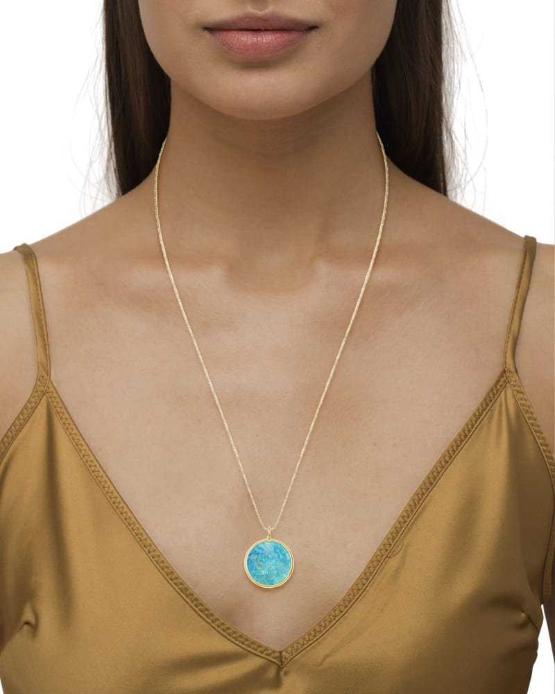 Medallion 18k Yellow Gold Vermeil Charm in Turquoise
