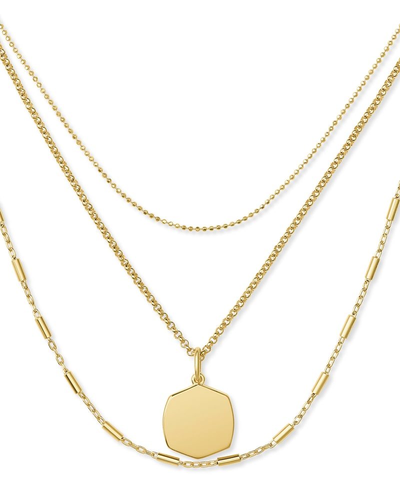 Davis Triple Strand Necklace in 18k Yellow Gold Vermeil
