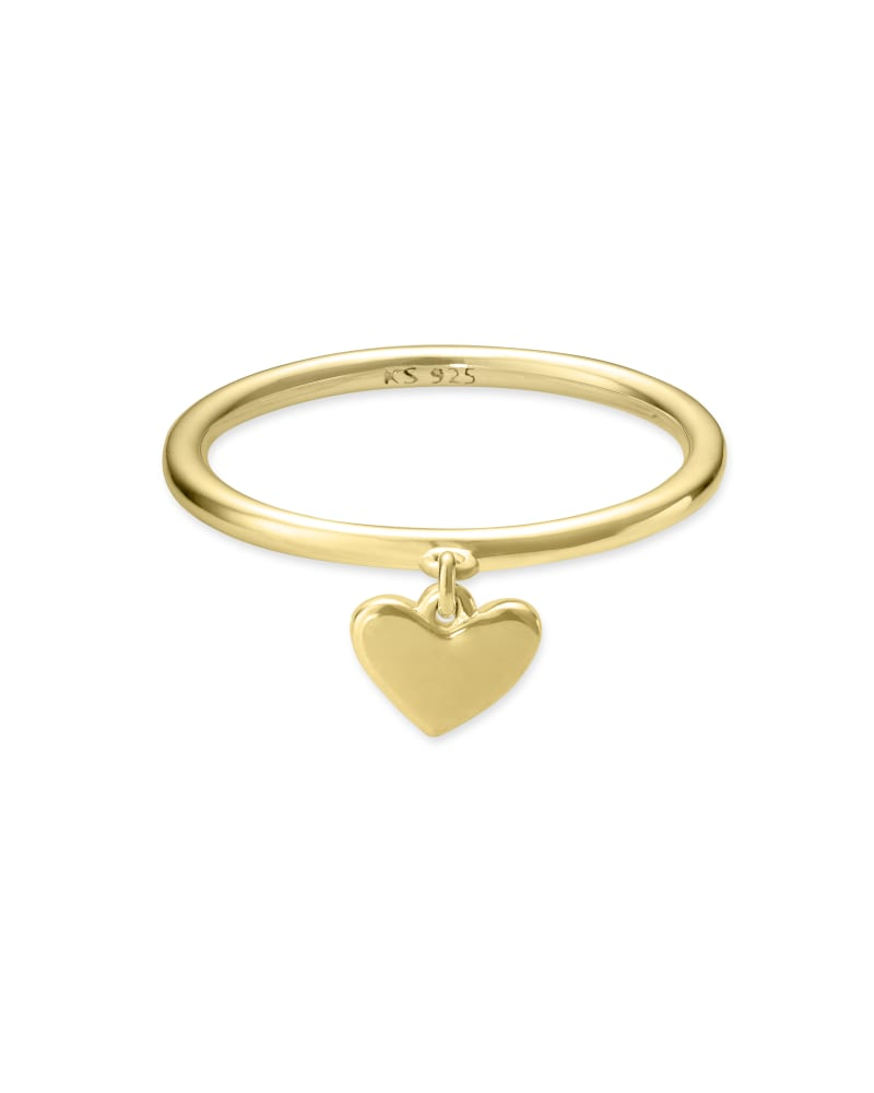 Ari Heart Charm Band Ring in 18k Gold Vermeil