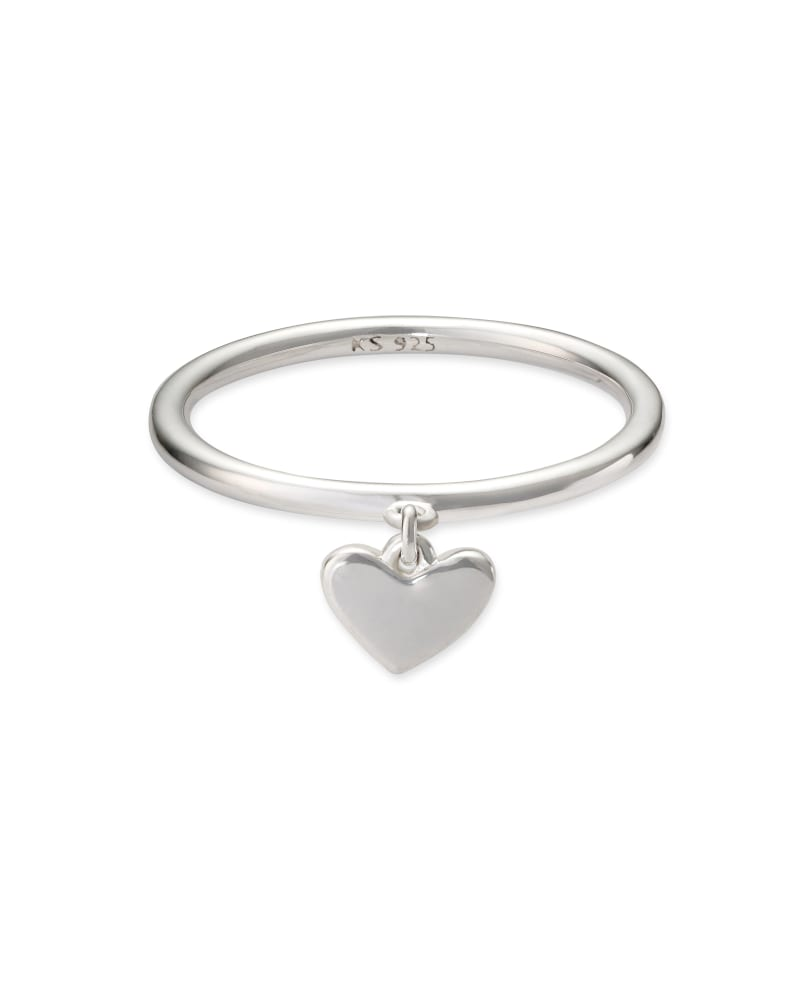 Ari Heart Charm Band Ring in Sterling Silver