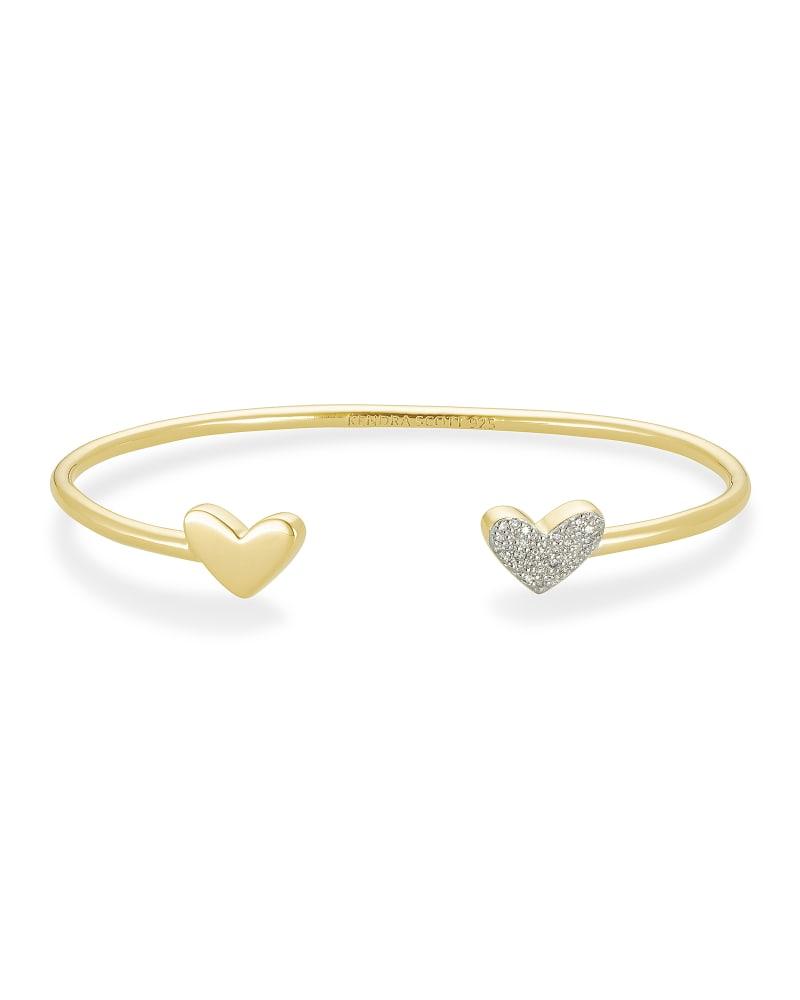 Ari Heart 18k Gold Vermeil Cuff Bracelet in White Diamond