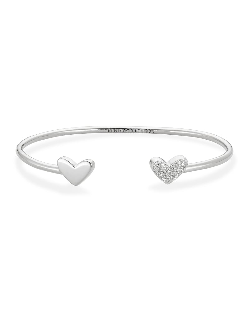 Ari Heart Sterling Silver Cuff Bracelet in White Diamond