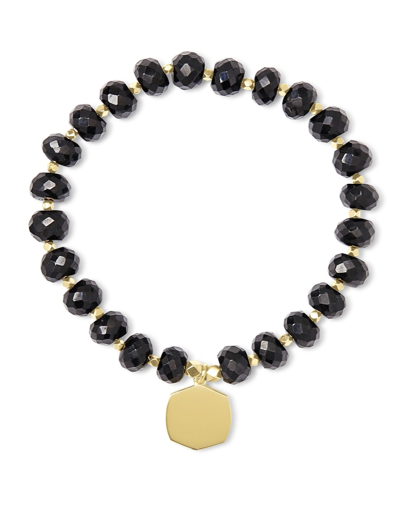 Davis 18k Gold Vermeil Beaded Bracelet in Black Spinel