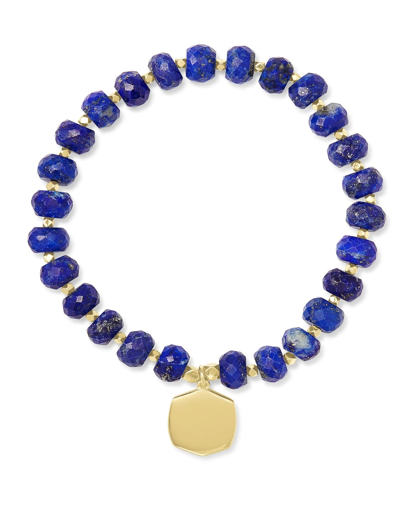 Davis 18k Gold Vermeil Beaded Bracelet in Blue Lapis