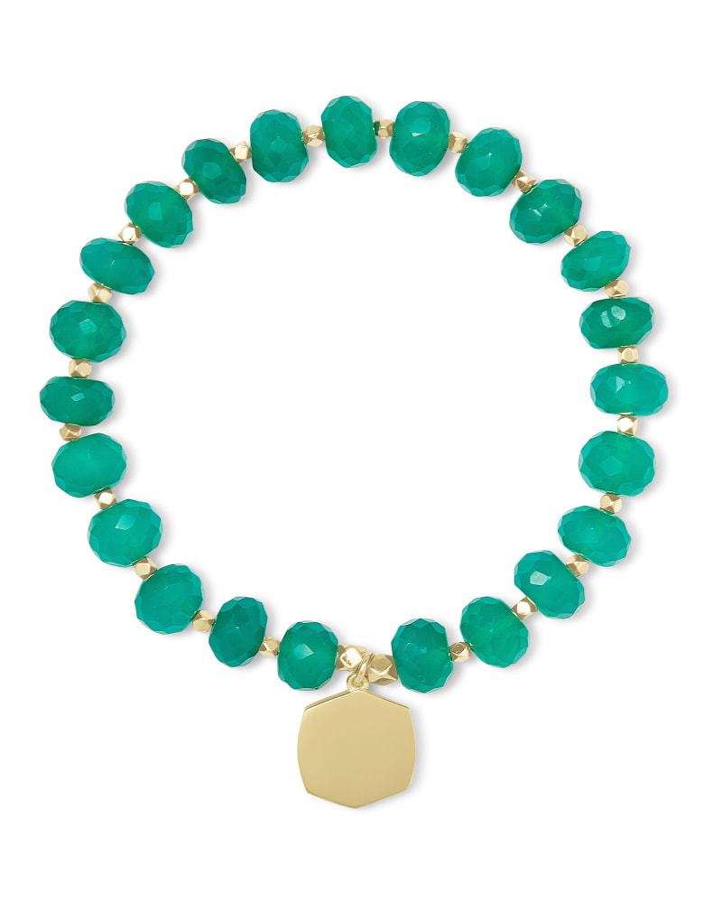 Davis 18k Gold Vermeil Beaded Bracelet in Green Onyx