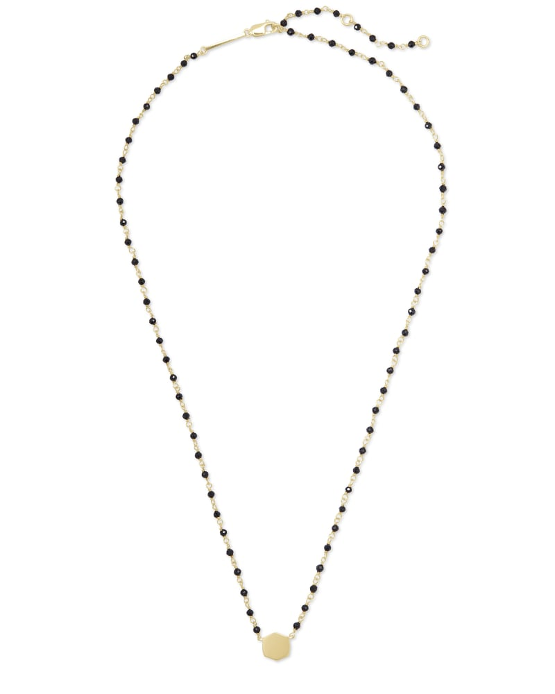 Davis 18k Gold Vermeil Beaded Pendant Necklace in Black Spinel