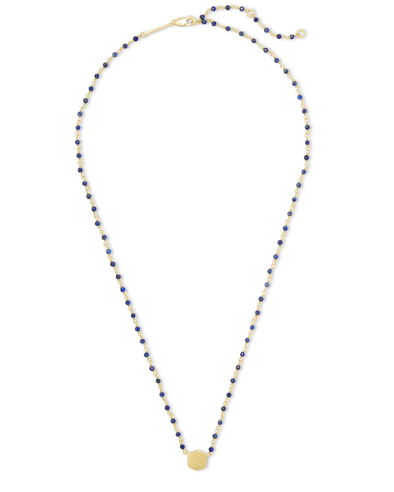 Davis 18k Gold Vermeil Beaded Pendant Necklace in Blue Lapis
