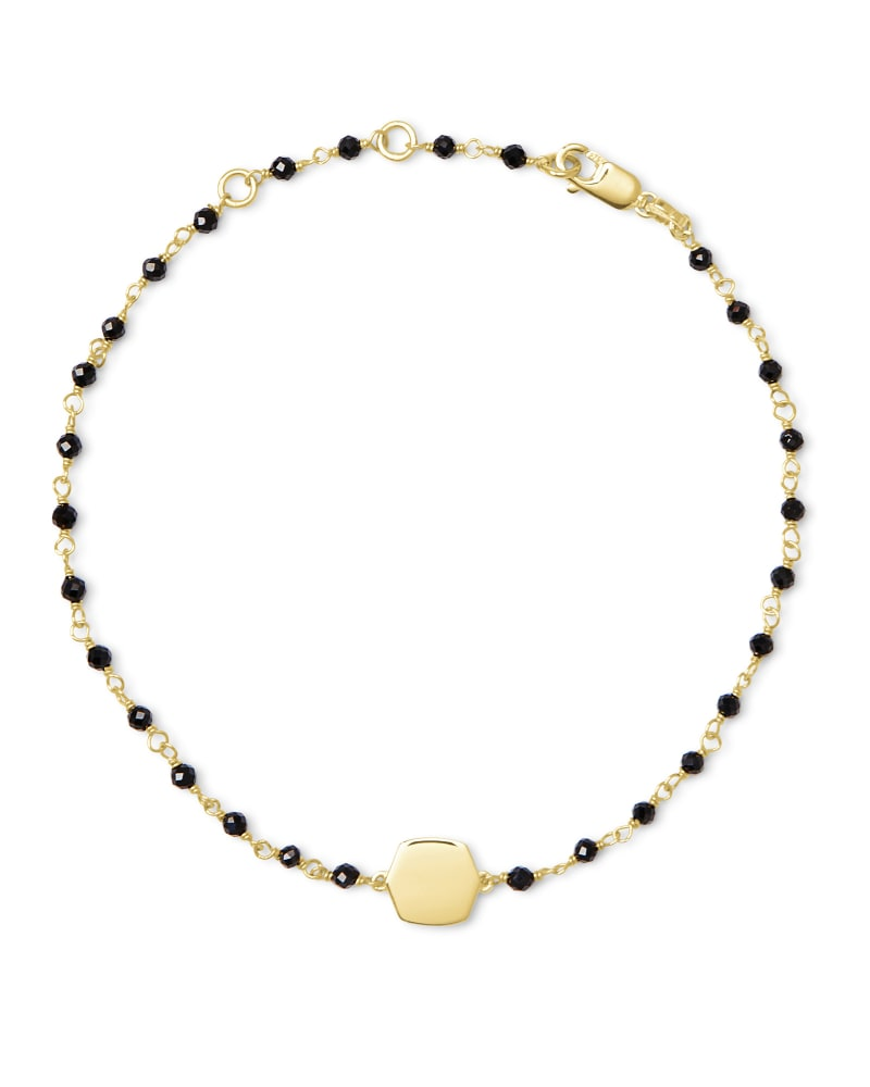 Davis 18k Gold Vermeil Delicate Beaded Bracelet in Black Spinel