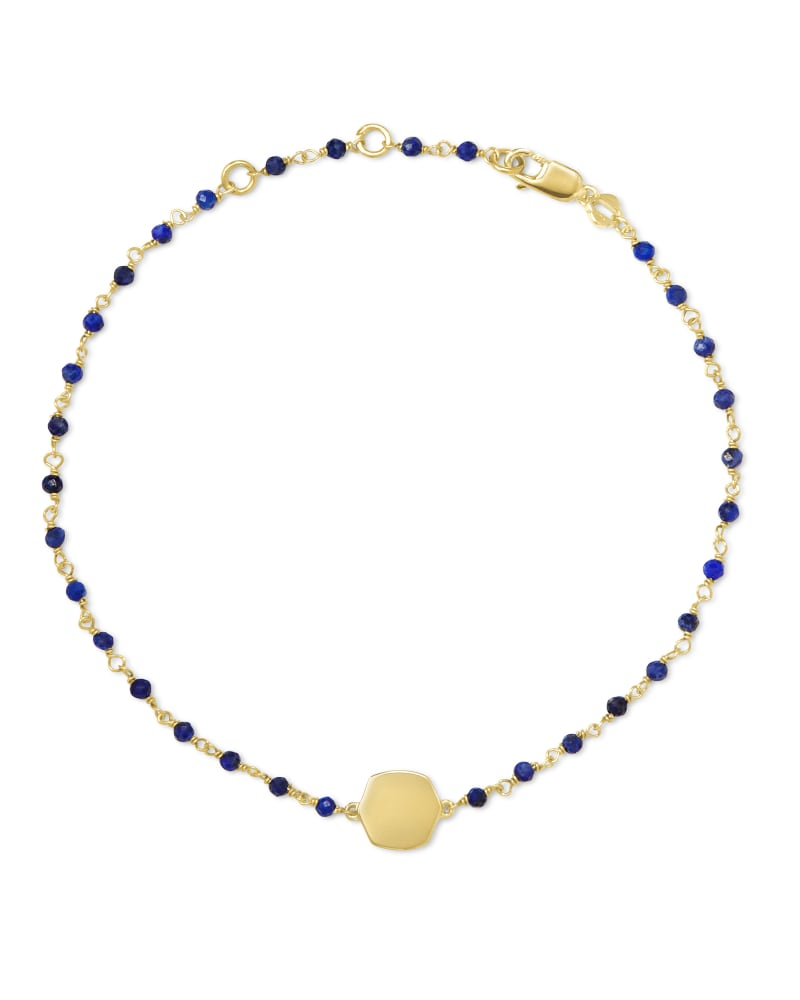 Davis 18k Gold Vermeil Delicate Beaded Bracelet in Blue Lapis