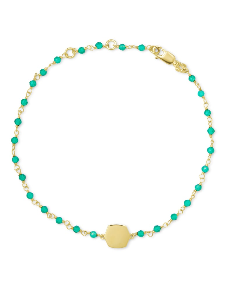 Davis 18k Gold Vermeil Delicate Beaded Bracelet in Green Onyx