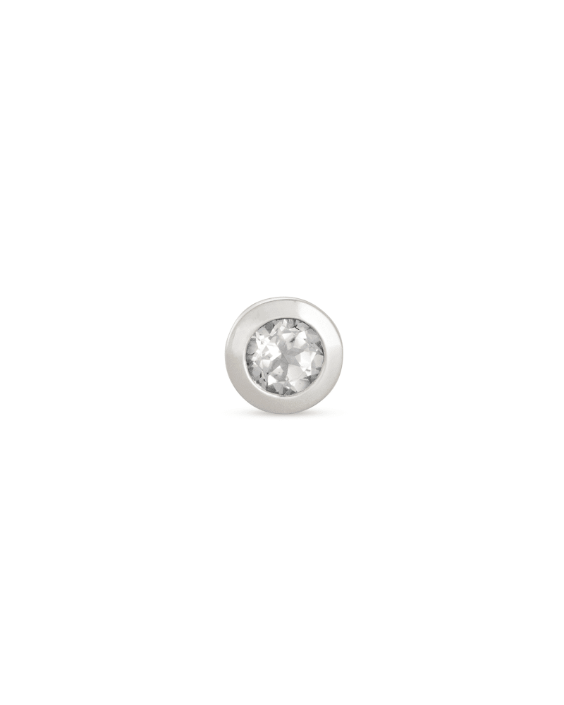 Aliyah Sterling Silver Mini Stud Earring in White Topaz