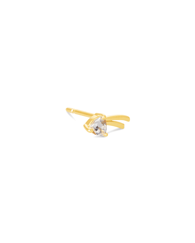 Nicki 18k Gold Vermeil Mini Stud Earring in White Topaz
