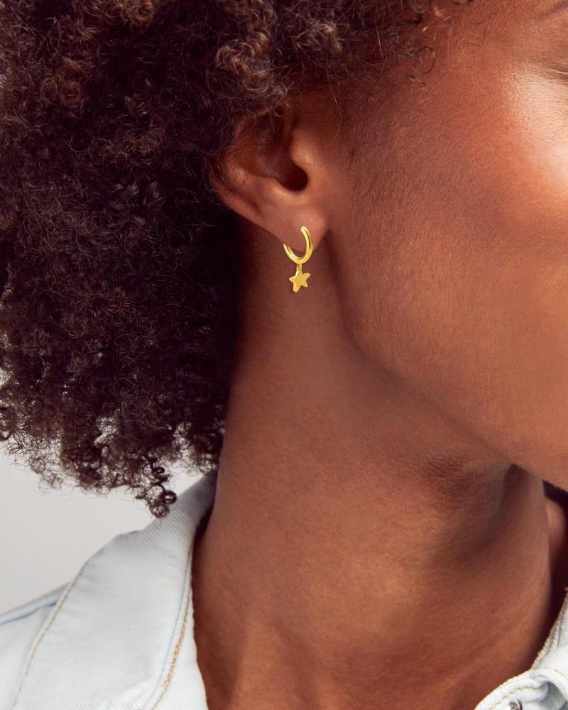 Jae Star Huggie Earrings in 18k Gold Vermeil