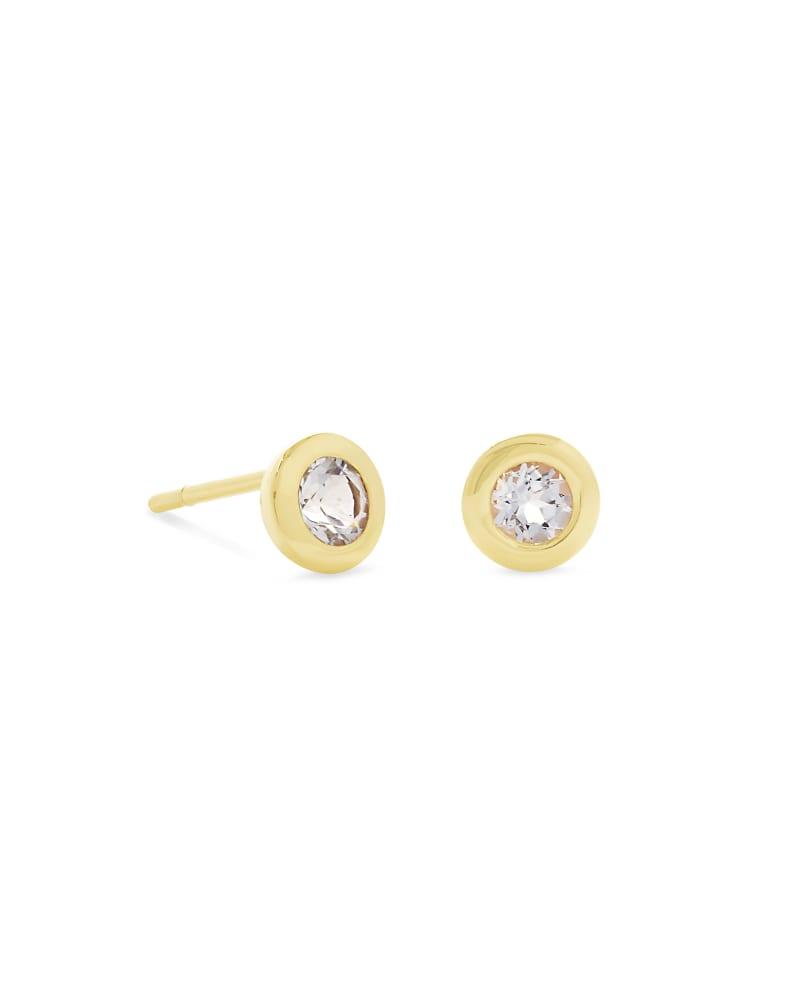 Aliyah 18k Gold Vermeil Stud Earrings in White Topaz