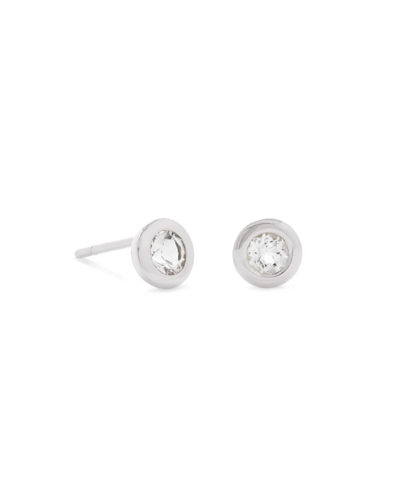 Aliyah Sterling Silver Stud Earrings in White Topaz