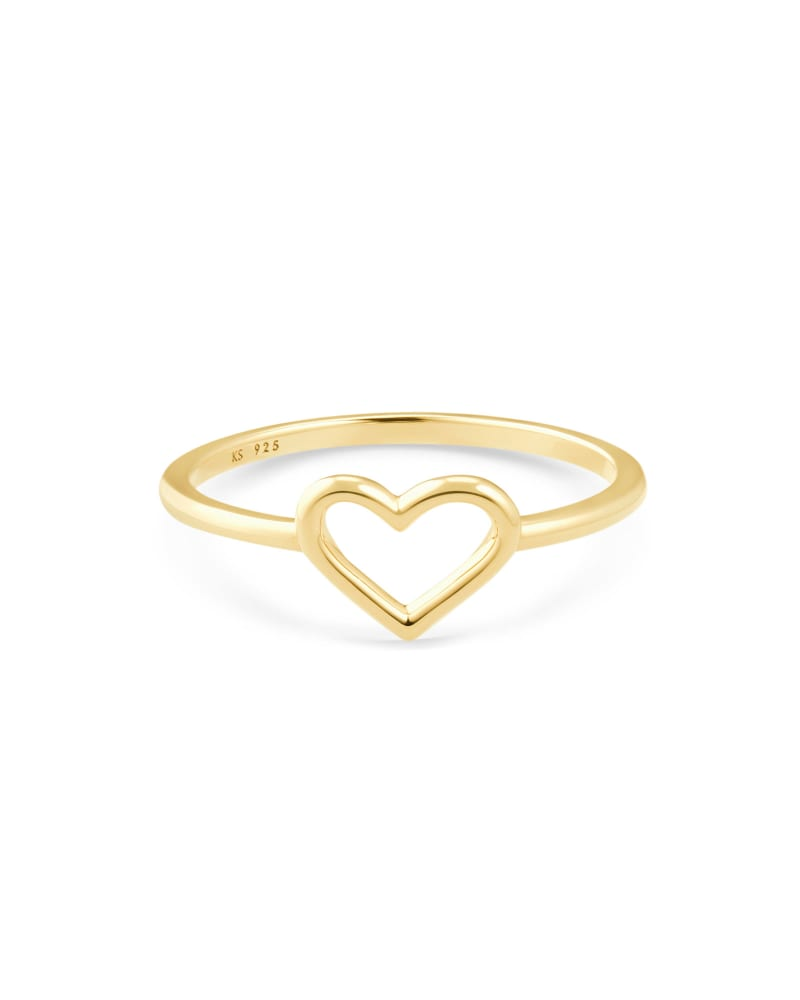 Angie Open Heart Band Ring in 18k Yellow Gold Vermeil