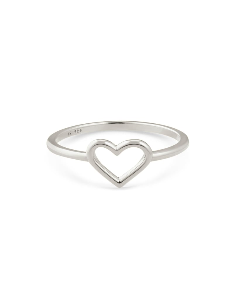 Angie Open Heart Band Ring in Sterling Silver