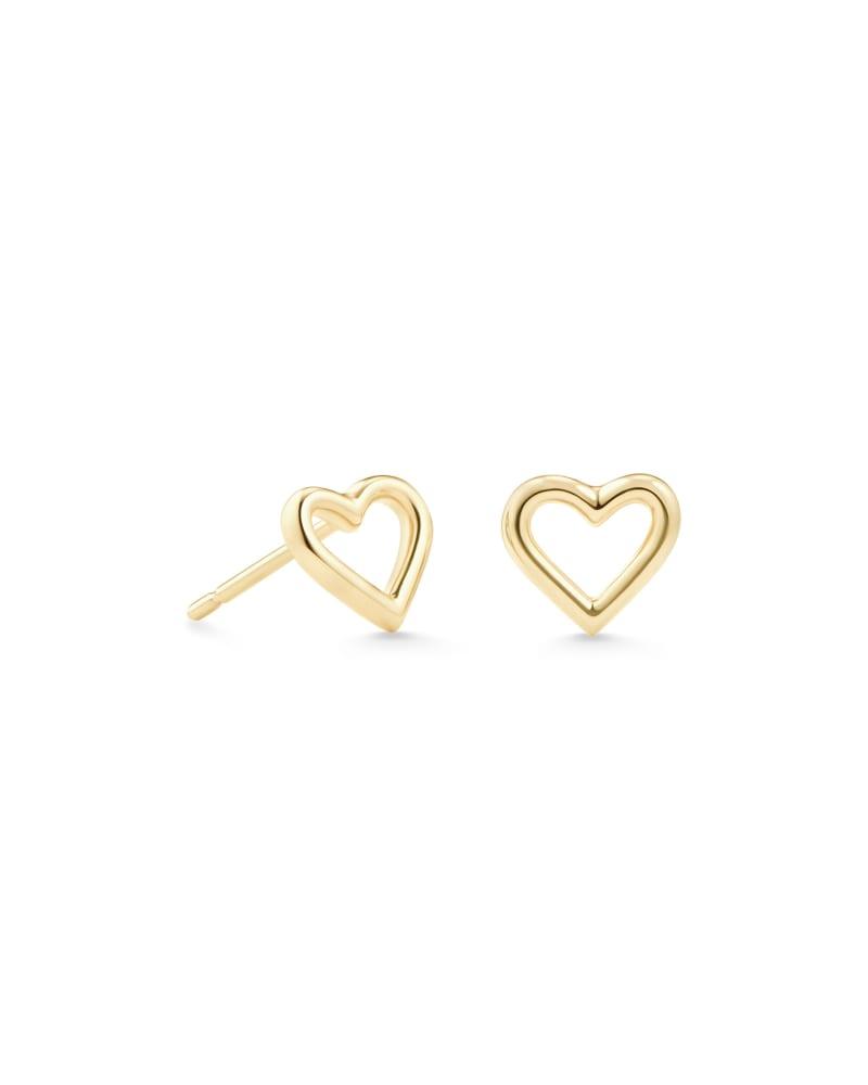 Angie Open Heart Stud Earrings in 18k Yellow Gold Vermeil