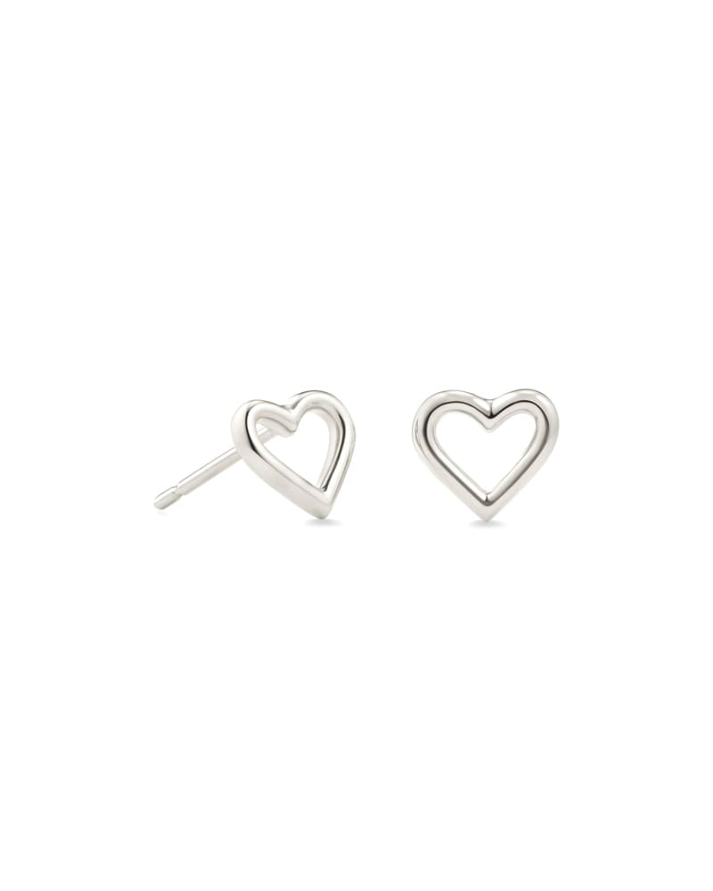 Angie Open Heart Stud Earrings in Sterling Silver