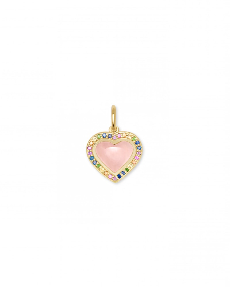 Angie Heart 18k Yellow Gold Vermeil Accent Charm in Rose Quartz