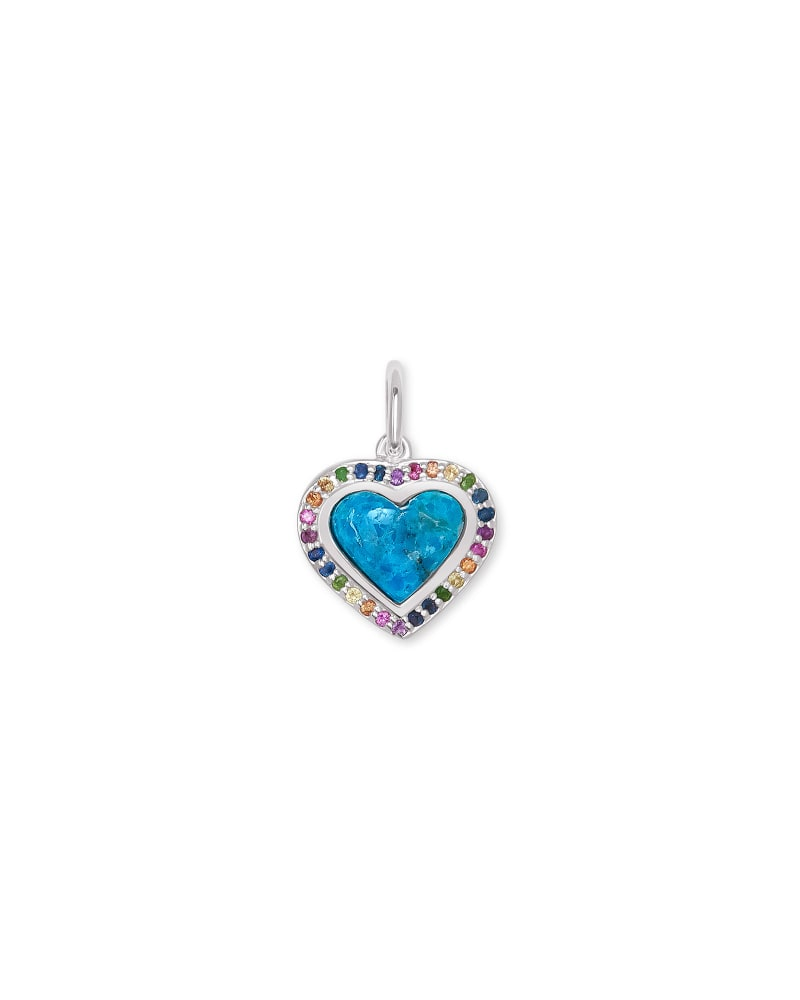 Angie Heart Sterling Silver Accent Charm in Turquoise