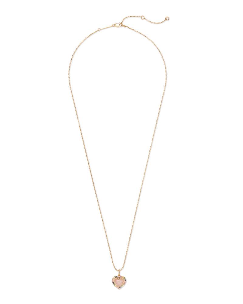 Angie Heart 18k Yellow Gold Vermeil Pendant Necklace in Rose Quartz
