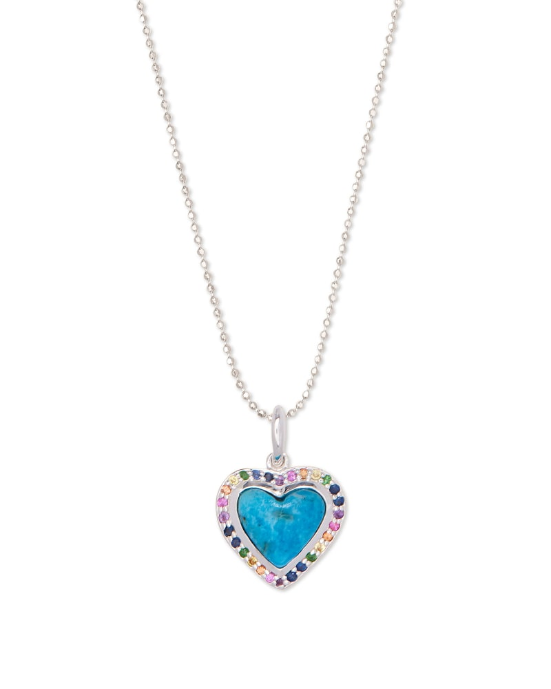 Angie Heart Sterling Silver Pendant Necklace in Turquoise