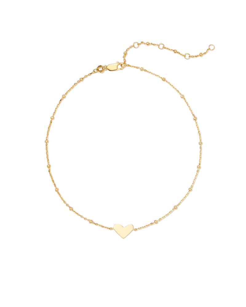 Ari Heart Chain Anklet in 18k Yellow Gold Vermeil