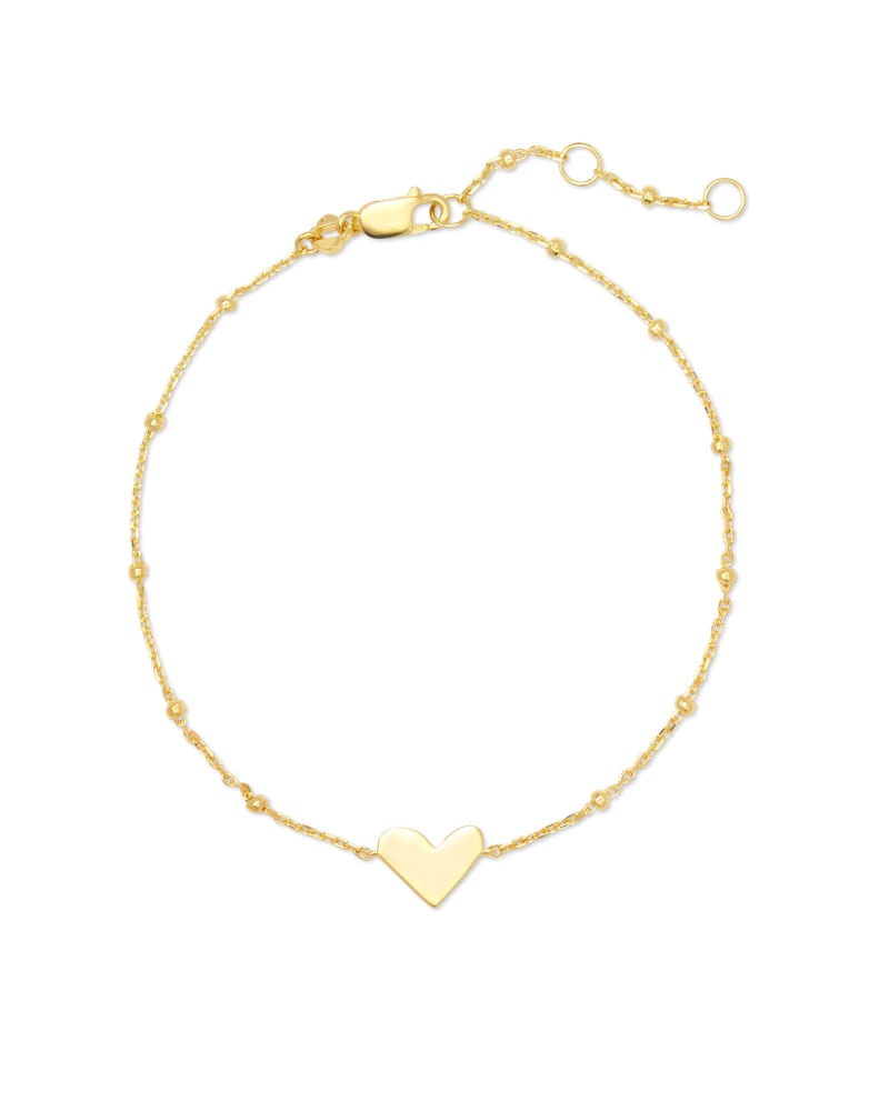 Ari Heart Delicate Chain Bracelet in 18k Yellow Gold Vermeil